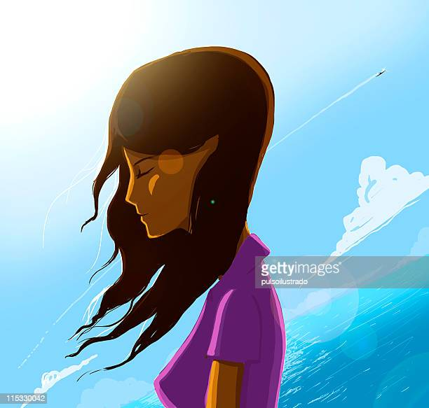 just wondering - one young woman only stock illustrations