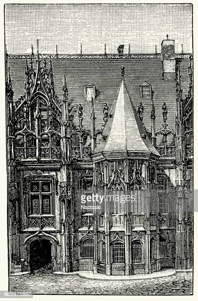 justice palace in , rouen, france - rouen stock illustrations, clip art, cartoons, & icons