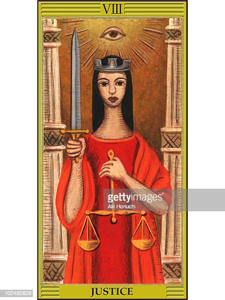 justice tarot card - tarot cards stock illustrations, clip art, cartoons, & icons