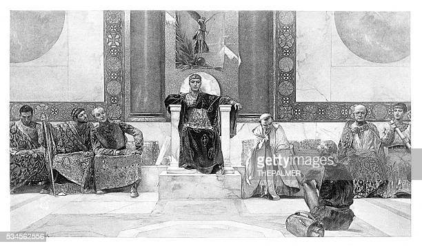 justinian and his council engraving 1894 - byzantine stock illustrations