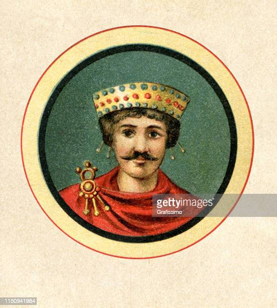 justinian the great roman emperor portrait - justinian i stock illustrations