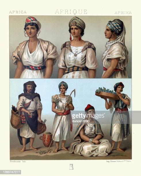 illustrations, cliparts, dessins animés et icônes de kabyle et mozabite mode féminine de l'afrique du nord, costumes traditionnels - algeria archive
