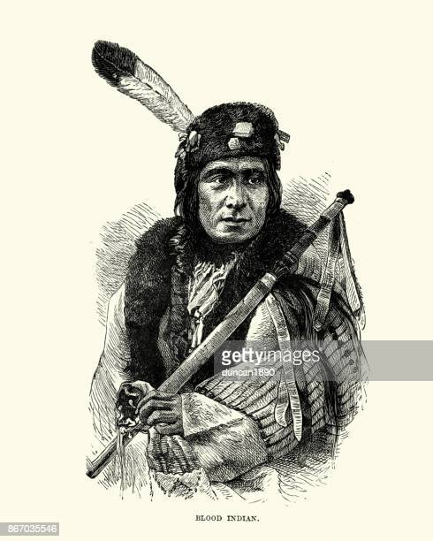 kainai, blood, native american, 19th century - indigenous north american culture stock illustrations, clip art, cartoons, & icons