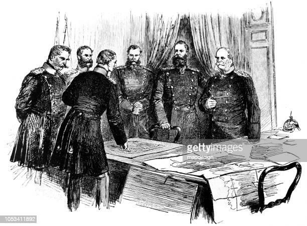 kaiser wilhelm i. nimmt teil an einer sitzung des preußischen generäle - 1888 - general stock-grafiken, -clipart, -cartoons und -symbole