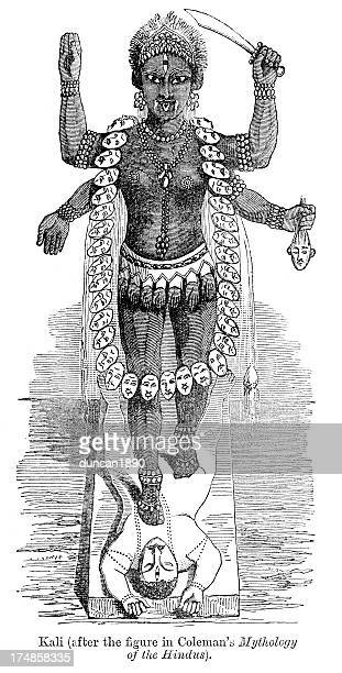 kali - goddess of time, change - hindu god stock illustrations