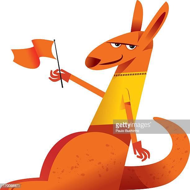 ilustrações de stock, clip art, desenhos animados e ícones de a kangaroo holding a flag - buchinho