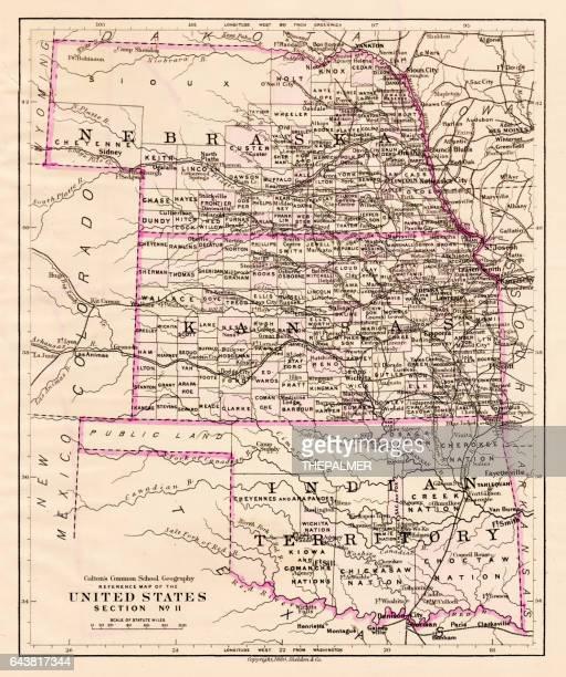 Kansas and Nebraska map 1881