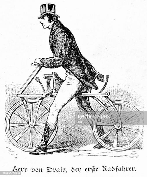 karl von drais, der erste radfahrer mit seinem draisinne oder dandy pferd - first occurrence stock-grafiken, -clipart, -cartoons und -symbole