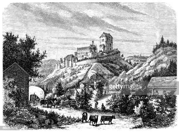 karlstejn castle - prague stock illustrations, clip art, cartoons, & icons