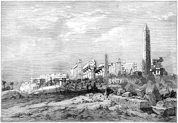 karnac, egypt (victorian engraving) - megalith stock illustrations, clip art, cartoons, & icons