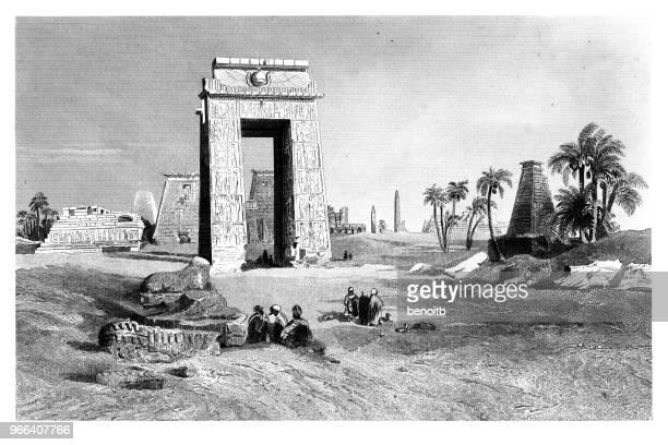 karnak temple complex, - thebes egypt stock illustrations