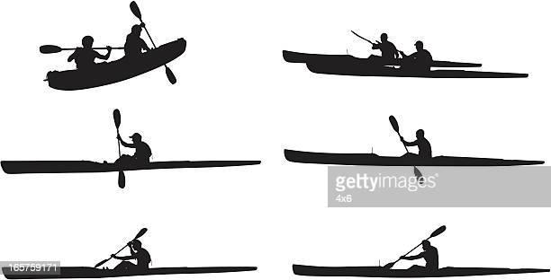 Kayaking outdoors men in kayaks