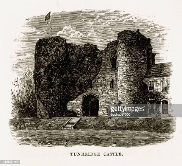 Kent, England, Tonbridge Castle Ruins, Victorian Engraving, Circa 1840
