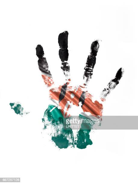 illustrazioni stock, clip art, cartoni animati e icone di tendenza di kenya hand print flag - kenya