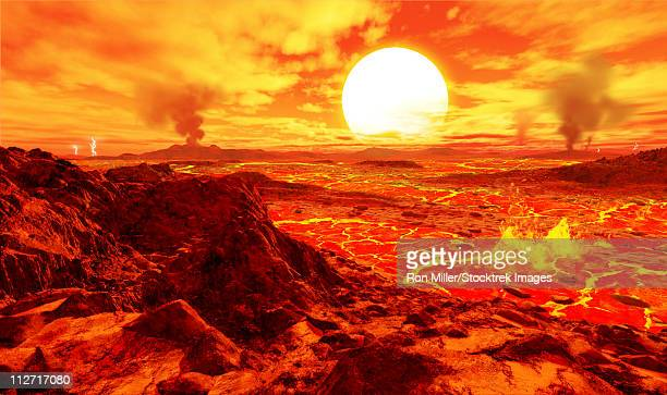 kepler 10b is the first extrasolar planet discovered that is known to be solid. it orbits so close to its star that it's red-hot. - extrasolar planet stock illustrations