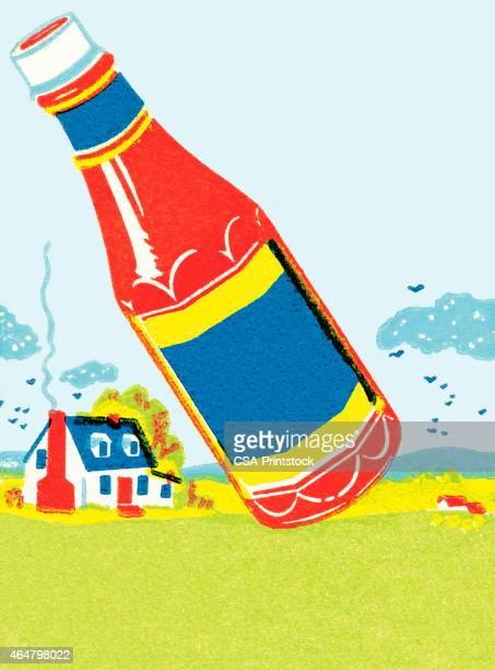 ketchup bottle - ketchup stock illustrations, clip art, cartoons, & icons