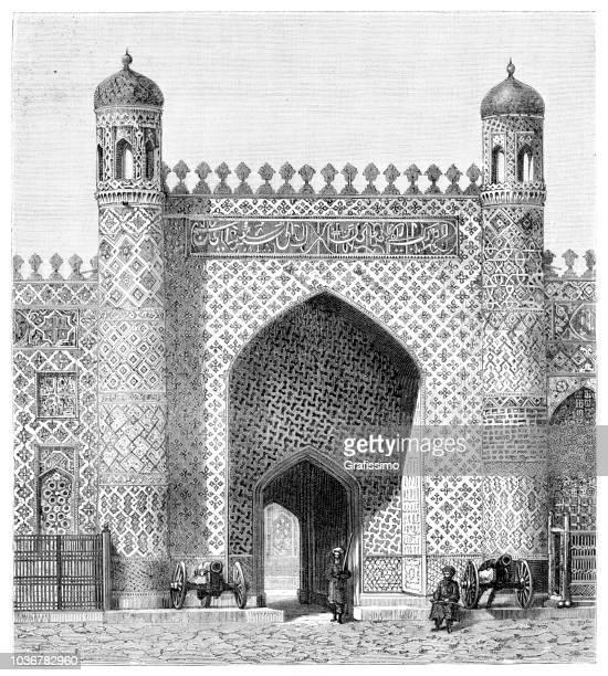 steel engraving khans palace kokand registan