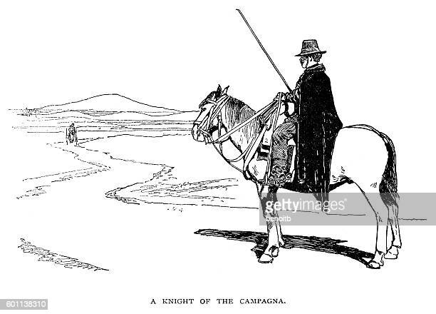 khight of the campagna - cavalier cavalry stock illustrations, clip art, cartoons, & icons