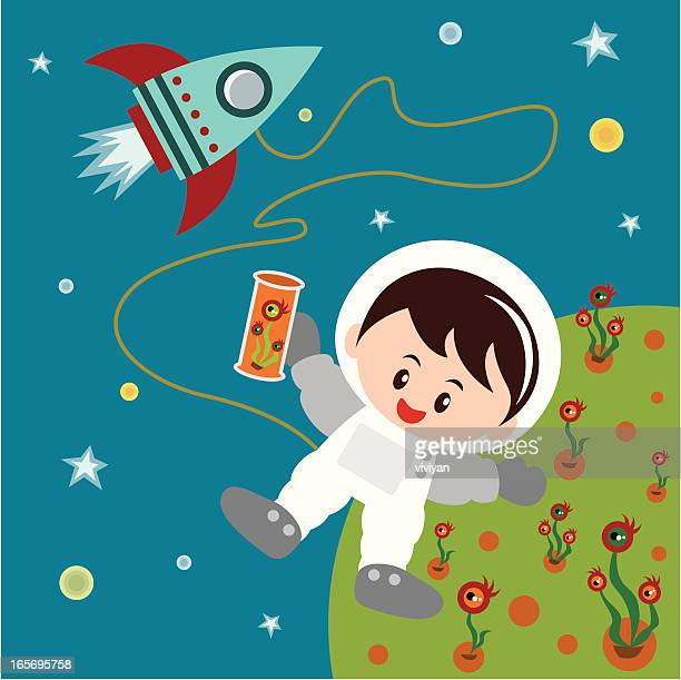 kid astronaut with rocket
