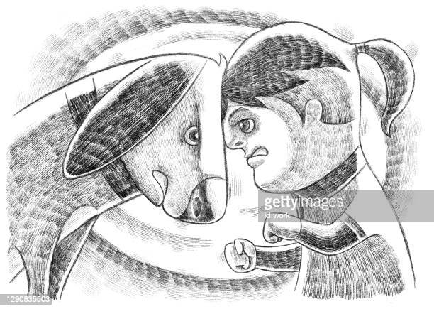 kid conflicting with dog sketch - heading the ball stock illustrations