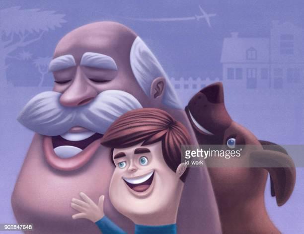 niño con perro y abuelo alegre
