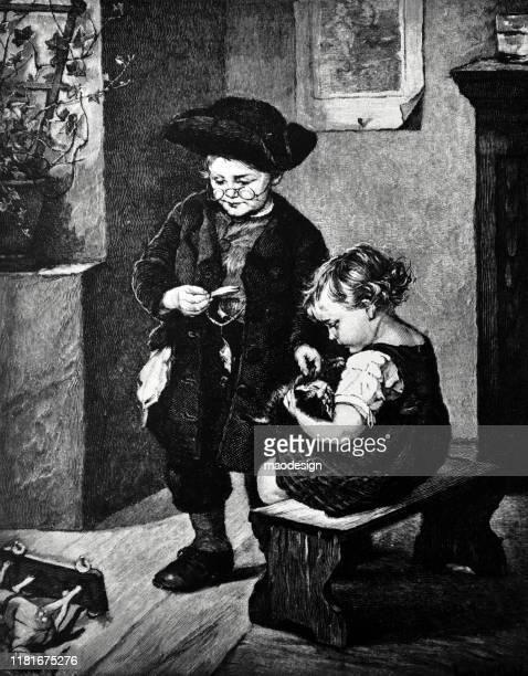 ilustrações, clipart, desenhos animados e ícones de os miúdos estão jogando com um gatinho - 1887