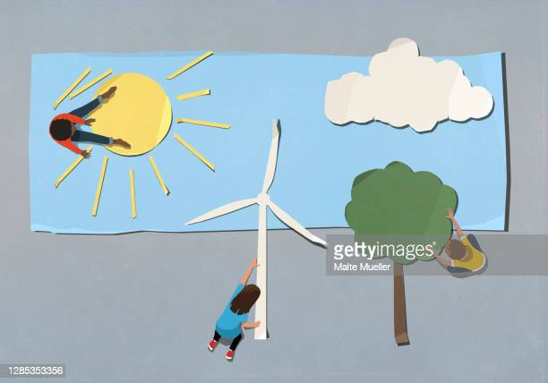 kids arranging environment and wind turbine symbols - improvement stock illustrations