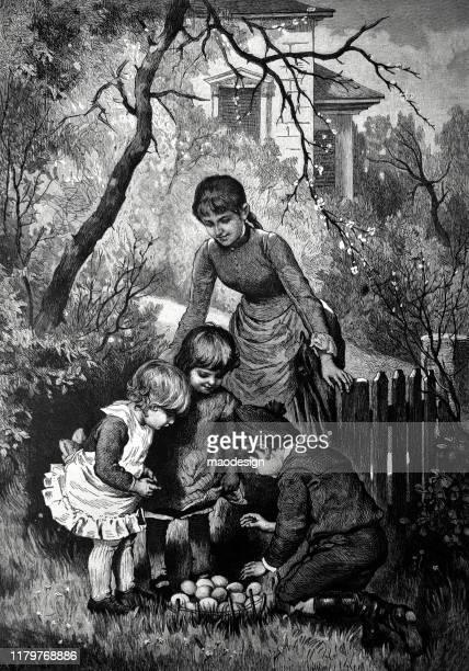 ilustrações, clipart, desenhos animados e ícones de os miúdos coletam ovos da galinha - 1887