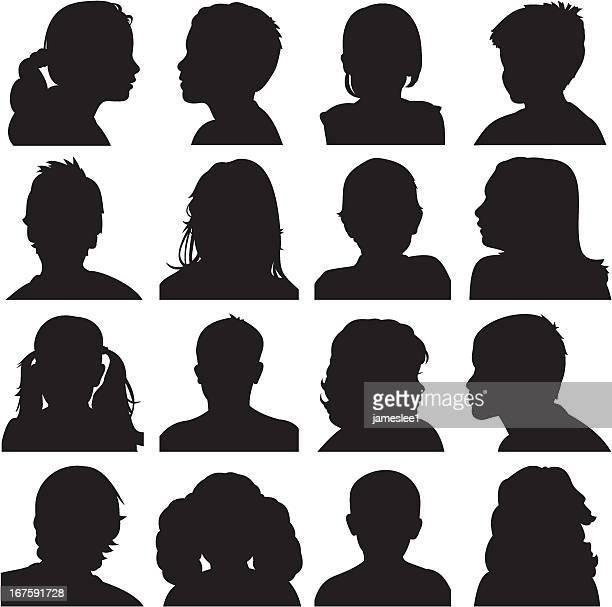 お子様の顔のシルエット - ショートヘア点のイラスト素材/クリップアート素材/マンガ素材/アイコン素材