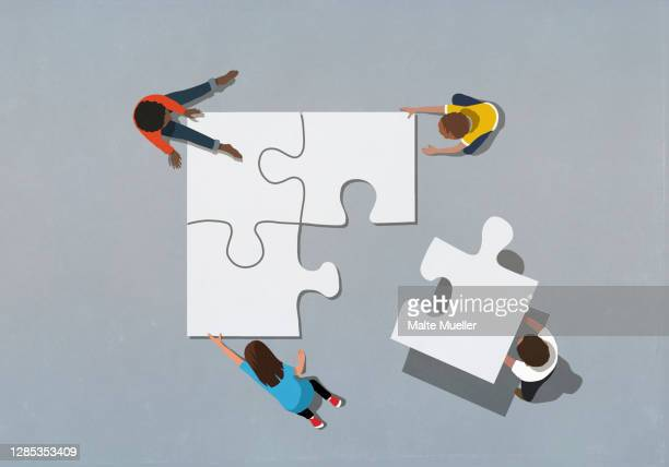 kids finishing puzzle with missing piece - order stock illustrations