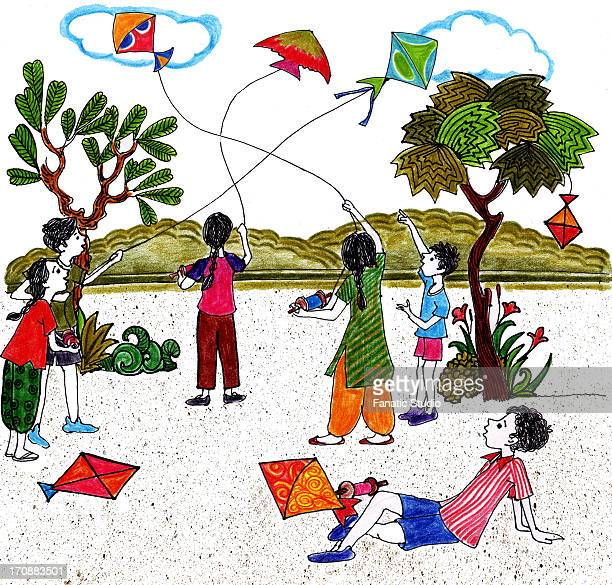kids flying kites on indian independence day - kite toy stock illustrations, clip art, cartoons, & icons