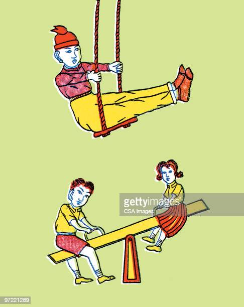Kids on swing and seesaw