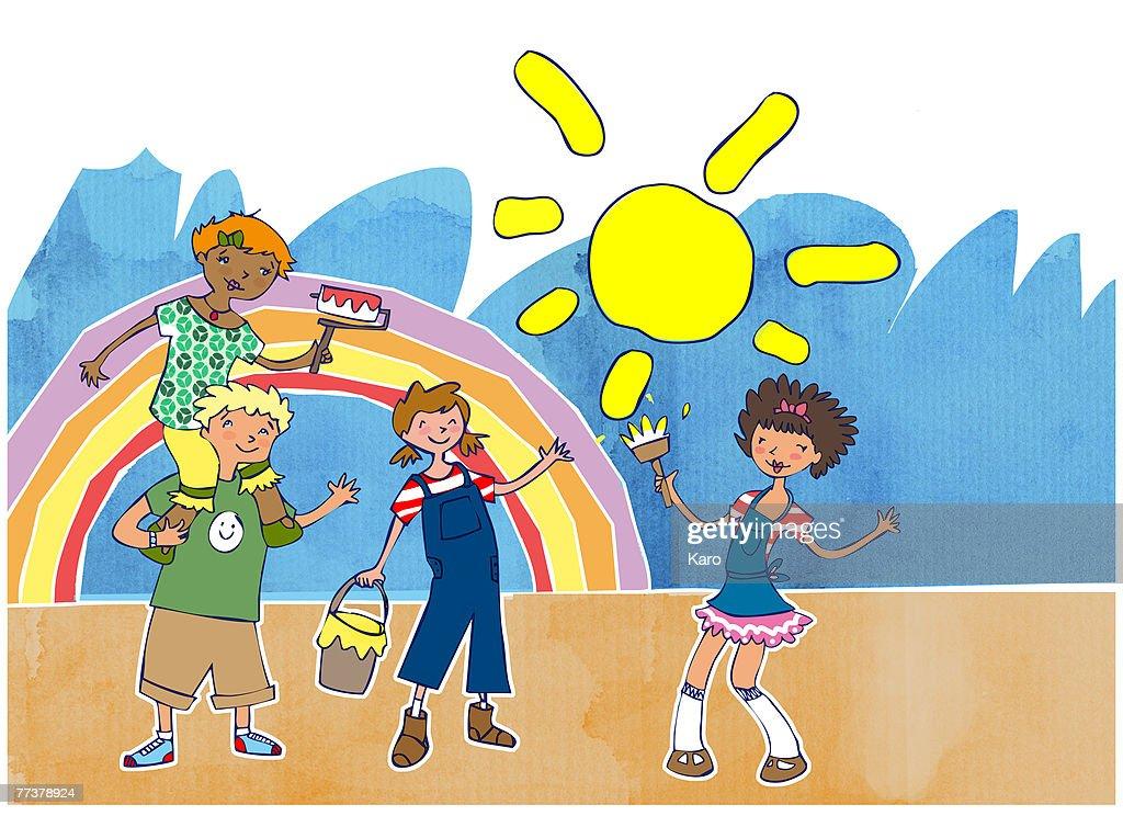 Kids painting a rainbow : Illustration