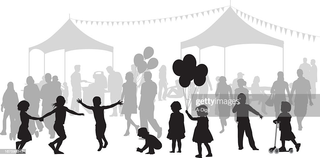 Kids Party Vector Silhouette