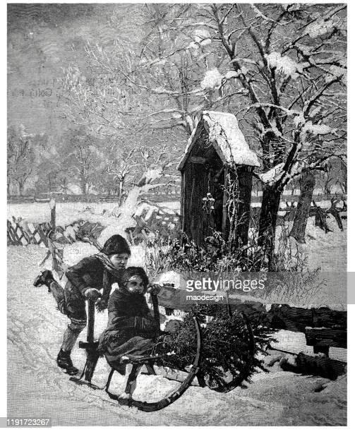 kids sledging in winter - 1887 stock illustrations, clip art, cartoons, & icons