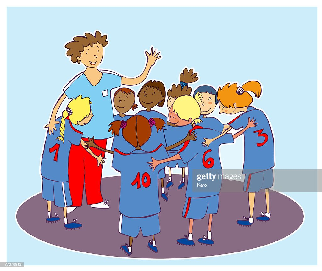 A kids soccer team with the coach : Illustration