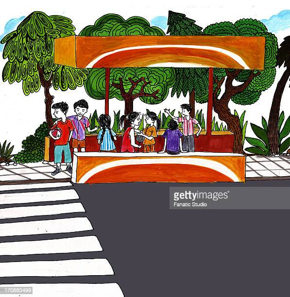 Kids waiting at bus stop