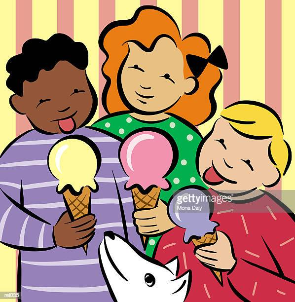 kids with ice cream - licking stock illustrations, clip art, cartoons, & icons