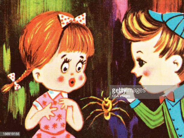 kids with spider - phobia stock illustrations, clip art, cartoons, & icons