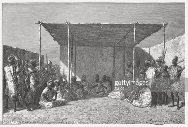 king ahmadu tall (1836-1897) at a council, wood engraving, published 1868 - mali stock illustrations, clip art, cartoons, & icons