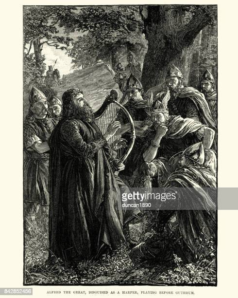 King Alfred the Great, disgused as a harper, before Guthrum