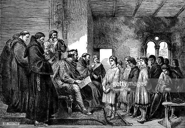 Rei Alfred visitar o Mosteiro escola