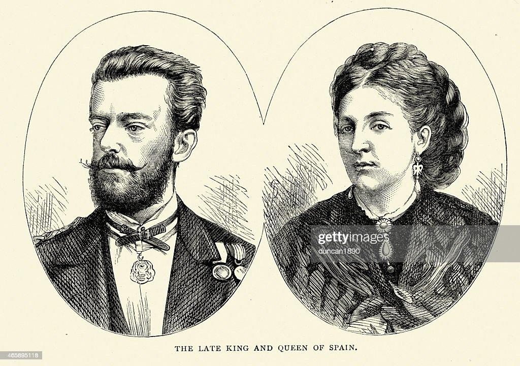 King Amadeo, da Espanha e a Rainha Maria : Ilustração