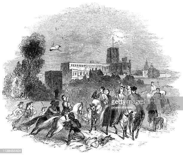 king and queen going falconry hunting at st albans, england - works of william shakespeare - falconry stock illustrations