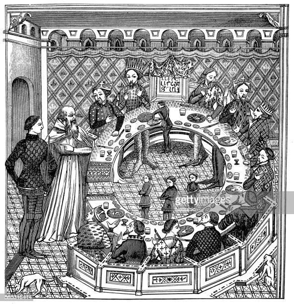 ilustraciones, imágenes clip art, dibujos animados e iconos de stock de rey arturo y la mesa redonda - castillo estructura de edificio