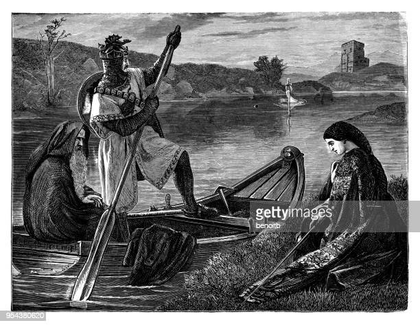 king arthur on boat with merlin going to retrieve the sword - wizard stock illustrations, clip art, cartoons, & icons