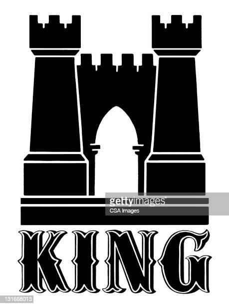king castle gate - facade stock illustrations