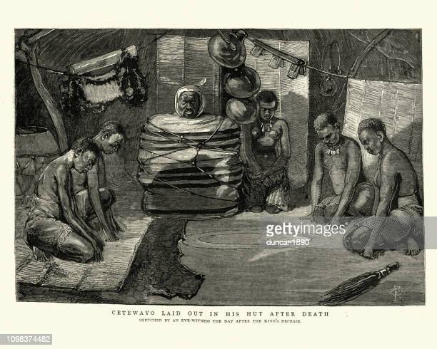 King Cetshwayo kaMpande laid out in his hut after death
