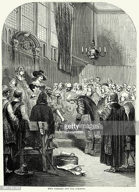 king charles i and the commons - 17th century stock illustrations, clip art, cartoons, & icons