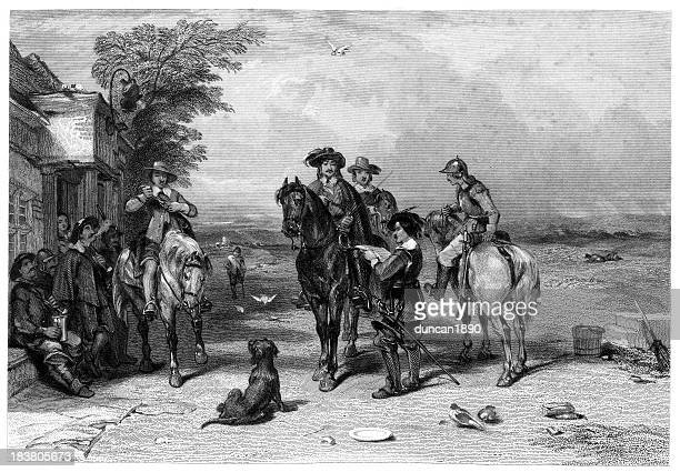 king charles i on his journey to the scots - cavalier cavalry stock illustrations, clip art, cartoons, & icons